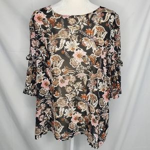 NWT IJEANS BY BUFFALO bell sleeve floral blouse